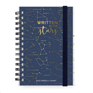 SMALL DAILY SPIRAL BOUND DIARY 12 MONTH 2022 STARS
