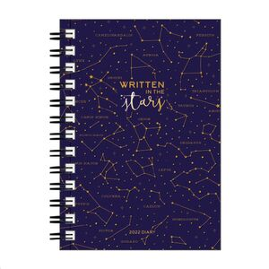 LARGE WEEKLY SPIRAL BOUND DIARY 12 MONTH 2022 STARS